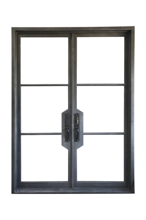 Modern Exterior Wrought Iron Double Entry Door with Double Insulation Glass, HSD025
