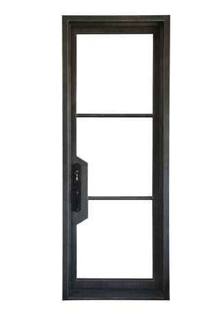 Exterior Wrought Iron Single Entry Door with Double Operable Insulation Glass, Top-rated, HSDS026