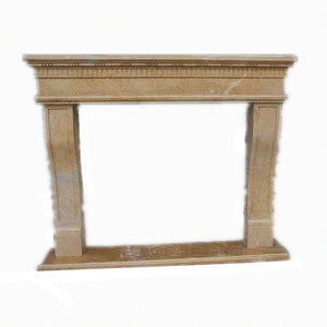 H100F-10 Polished Beige Limestone Fireplace Mantel, 67''Lx55''Hx11.8''D