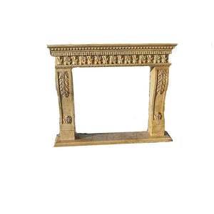 "H100F-9 Polished Beige Travertine Fireplace Mantel, 67''Lx55''Hx11.8""D-1"