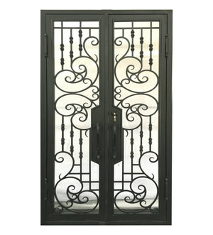 64''x80'' Exterior Wrought Iron Double Entry Door with Double Operable Insulation Glass, HAD003