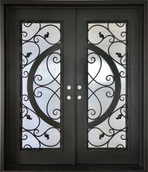 Exterior Wrought Iron Double Entry Door with Double Operable Insulation Glass, FWSD38