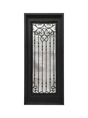 Exterior Wrought Iron Single Entry Door with Double Operable Insulation Glass, Top-rated, HSS019