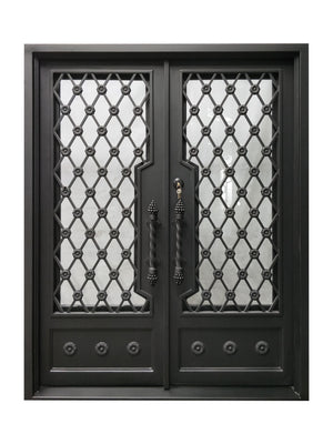 Exterior Wrought Iron Double Entry Door with Double Operable Insulation Glass, HSD005-1