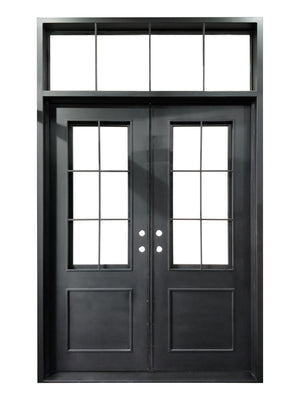 72''x120'' Exterior Wrought Iron Double Entry Door with Operable Insulation Glass, HSDT018