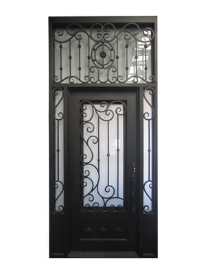 Exterior Wrought Iron Single Door with Sidelight and Double Operable Insulation Glass,HSST021