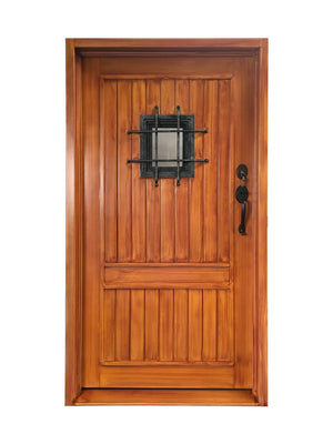 Exterior Wrought Iron Single Entry Door with Window, Top-rated, HDS020