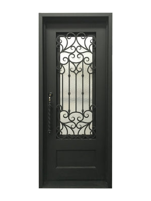 Exterior Wrought Iron Single Entry Door with Double Operable Insulation Glass, Top-rated, HSS018