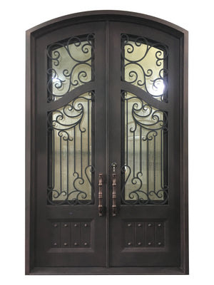64''x80'' Exterior Wrought Iron Double Entry Door with Double Operable Insulation Glass, HAD016-1