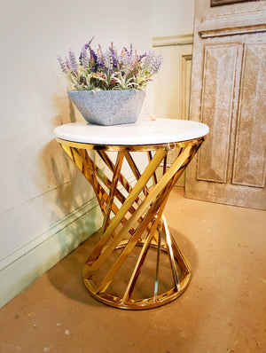 Popular Marble Top Side Table with Stainless Steel Frame, SST0068