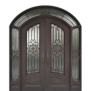 Custom Exterior Wrought Iron Double Entry Door with Double Operable Insulation Glass, HADS0912