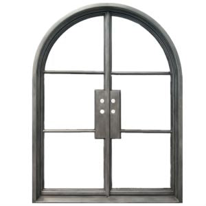 Modern Exterior Wrought Iron Double Entry Door with Double Insulation Glass, HAD052