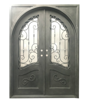Exterior Wrought Iron Double Entry Door with Double Operable Insulation Glass, HSD007-1