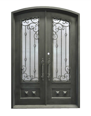 Exterior Wrought Iron Double Entry Door with Double Operable Insulation Glass, HAD001