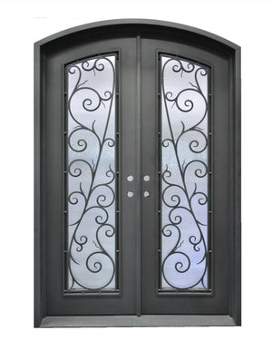 Exterior Wrought Iron Double Entry Door with Operable Insulation Glass, HAD002-1