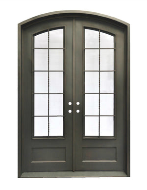 Exterior Wrought Iron Double Entry Door with Operable Insulation Glass, HAD0021-1