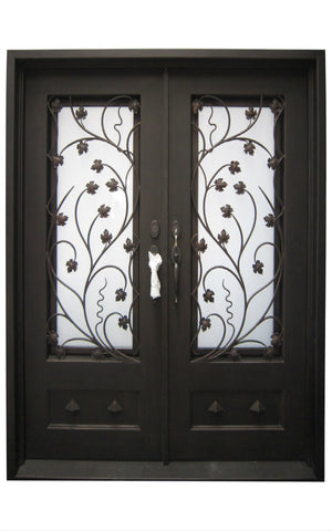 Exterior Wrought Iron Double Entry Door with Double Operable Insulation Glass, HAD017-1