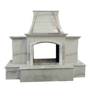 "84""x99"" Luxury Outdoor Stone Fireplace, Nature Outside Marble, Double Side Unit, F005a"