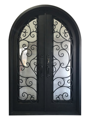 Exterior Wrought Iron Double Entry Door with Double Operable Insulation Glass, HAD012-1