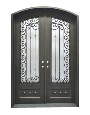 Exterior Wrought Iron Double Entry Door with Operable Insulation Glass, HAD010