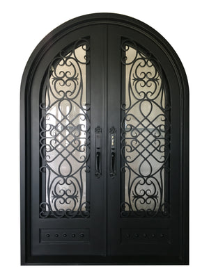 Exterior Wrought Iron Double Entry Door with Operable Insulation Glass, HAD011