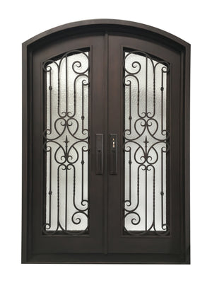 Exterior Wrought Iron Double Entry Door with Operable Insulation Glass, Top-rated, HAD013