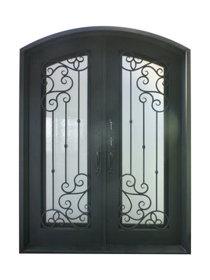 Exterior Wrought Iron Double Entry Door with Double Operable Insulation Glass, HAD014