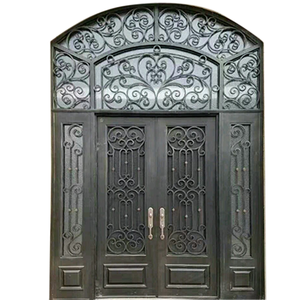 Custom Large Special Exterior Wrought Iron Double Entry Door with Double Operable Insulation Glass, HADS0913