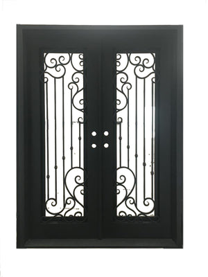 Exterior Wrought Iron Double Entry Door with Double Operable Insulation Glass, HSD922