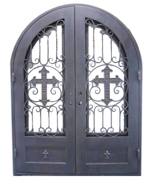 Exterior Wrought Iron Double Entry Door with Double Operable Insulation Glass, HSD1026