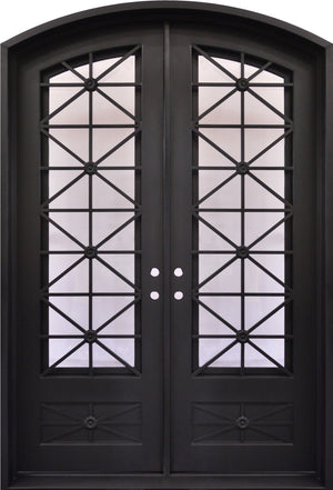 Outdoor Wrought Iron Double Entry Door with Operable Insulation Glass, HAD1021