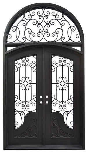 72''x120'' Exterior Wrought Iron Double Entry Door with Double Operable Insulation Glass, FWS1021