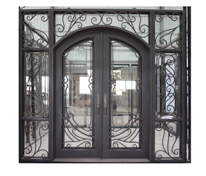 Custom Good Design Exterior Wrought Iron Double Entry Door with Double Operable Insulation Glass, FWS1023