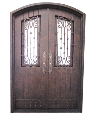 Exterior Wrought Iron  Entry Door with Double Operable Insulation Glass, HAD015