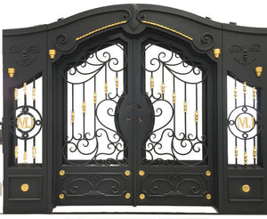 Custom Exterior Wrought Iron Double Entry Door with Double Operable Insulation Glass, HADS0923