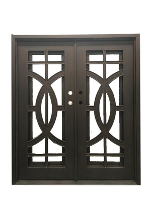 64''x80'' Exterior Wrought Iron Double Entry Door with Double Operable Insulation Glass, HAD9221