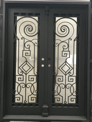 Exterior Wrought Iron Double Entry Door with Double Operable Insulation Glass, HSD024