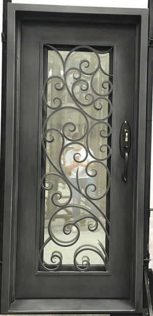 Exterior Wrought Iron Single Entry Door with Double Operable Insulation Glass, Top-rated, HSS923
