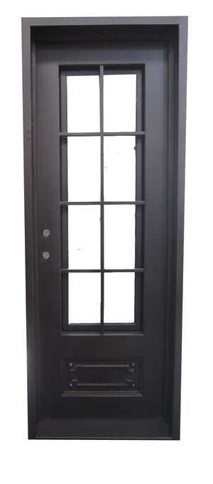 Exterior Wrought Iron Single Entry Door with Double Operable Insulation Glass, Top-rated, HAS1029