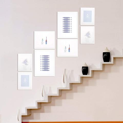 Wall-Mounted Wood Picture Frames Set of 8 White Gallery Photo Frame