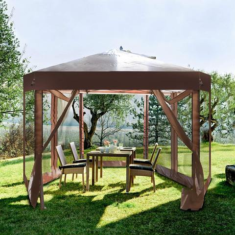 6.5' x 6.5' Outdoor Gazebo Patio Hexagonal Canopy Tent Sun Shade with Mosquito Netting and Carry Bag for Backyard Party