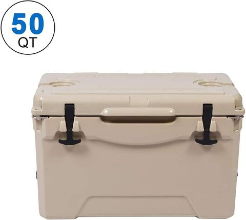 Rotomolded Cooler, 50QT Tan Cooler with Built-in Cup Holder, Bottle Openers, and Fish Ruler