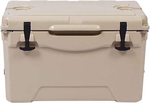 35QT Ice Cooler Rotomolded Insulated Coolers, Heavy Duty Ice Chest with Built-in Fish Ruler, Bottle Opener, Cup Holder