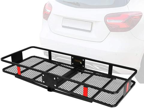 """60"""" x 24"""" x 6.5"""" Hitch Mounted Folding Cargo Carrier, 500LBS Capacity Heavy Duty Basket Rack, Fit 2"""" Receiver Hitch"""