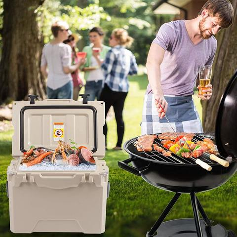 Portable Coolers, Keep Ice Up to 5 Days, Rotomolded Insulation Ice Chest for Camping, Fishing, Hunting, BBQs & Outdoor Activities, 25QT