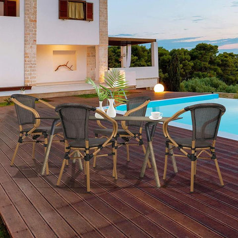 Patio Leisure Chair Set of 4 Outdoor Dining Chairs Patio Furniture, Indoor/Outdoor Restaurant Stack Chair Set, Black & Caramel