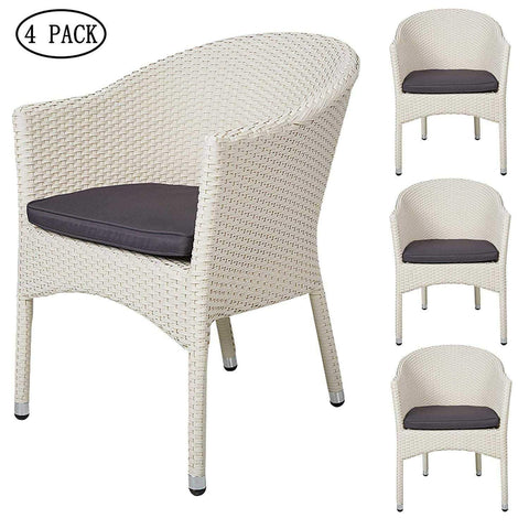 Bosonshop 4PCS Outdoor Rattan Chairs Patio Garden Furniture with Seat Cushions, White