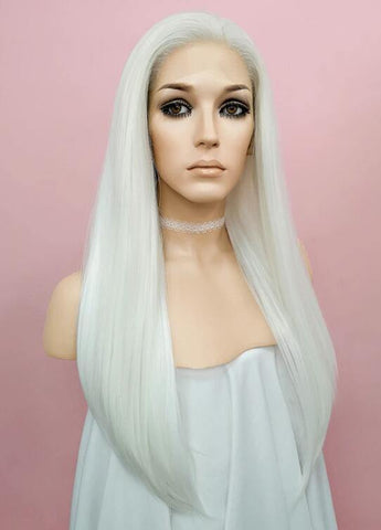 Straight White Lace Front Synthetic Wig