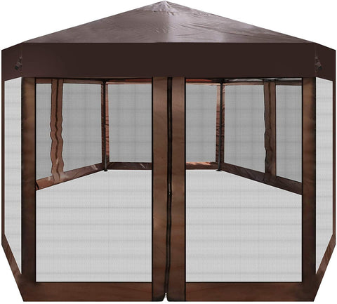 Outdoor Gazebo Patio Hexagonal Canopy Tent Sun Shade with Mosquito Netting and Carry Bag for Backyard Party (Brown)