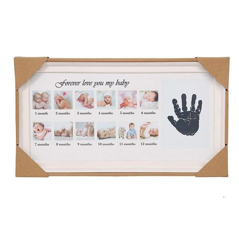 Bosonshop Baby Handprint Kit & Footprint Photo Frame for Newborn Girls and Boys, Pink
